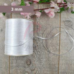 Szatén szalag (Fehér, 3mm, 1 méter)