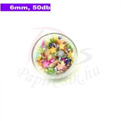 Műanyag csillag alakú félgyöngy (vegyes szín, 6mm, 50buc.)