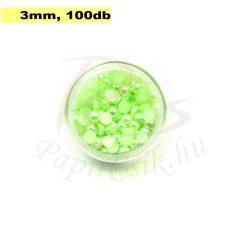 Perle semisferice din plastic, verde pal (3mm, 100buc.)