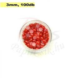 Perle semisferice din plastic, roșu (3mm, 100buc.)
