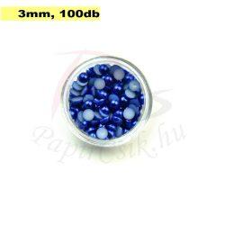 Perle semisferice din plastic, albastru medu (3mm, 100buc.)