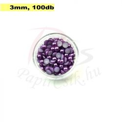 Perle semisferice din plastic, mov (3mm, 100buc.)