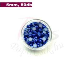 Perle semisferice din plastic, albastru medu (5mm, 50buc.)