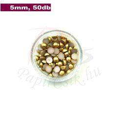 Perle semisferice din plastic, aur (5mm, 50buc.)