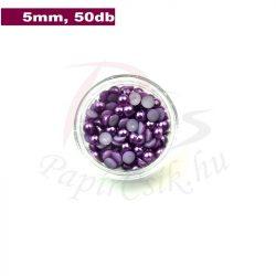 Perle semisferice din plastic, mov (5mm, 50buc.)