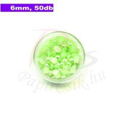 Perle semisferice din plastic, verde pal (6mm, 50buc.)