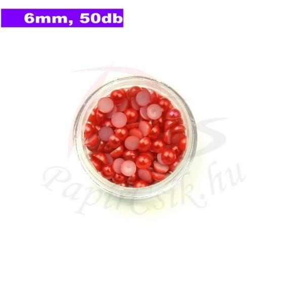 Perle semisferice din plastic, roșu (6mm, 50buc.)