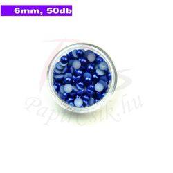 Perle semisferice din plastic, albastru medu (6mm, 50buc.)