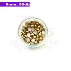 Perle semisferice din plastic, aur (6mm, 50buc.)