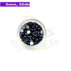 Perle semisferice din plastic, negru (6mm, 50buc.)