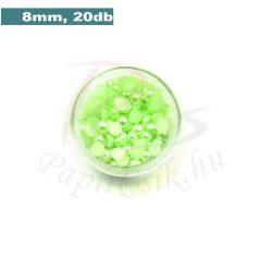 Perle semisferice din plastic, verde pal (8mm, 20buc.)