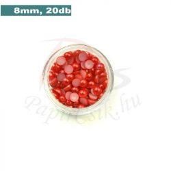 Perle semisferice din plastic, roșu (8mm, 20buc.)
