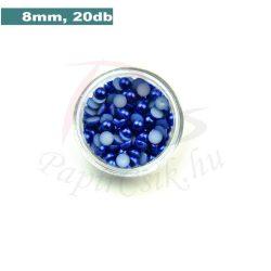 Perle semisferice din plastic, albastru medu (8mm, 20buc.)