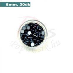 Perle semisferice din plastic, negru (8mm, 20buc.)