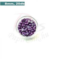 Perle semisferice din plastic, mov (8mm, 20buc.)