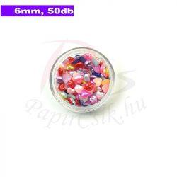 Műanyag szív alakú félgyöngy (vegyes szín, 6mm, 50buc.)