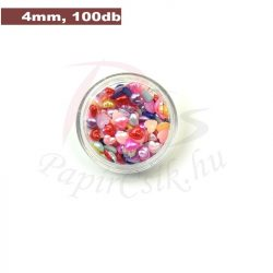 Műanyag szív alakú félgyöngy (vegyes szín, 4mm, 100buc.)