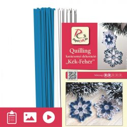 Albastru - Alb - model pt.  tehnica quilling (benzi - 200 buc. și descriere cu poze)