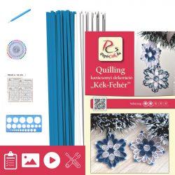 Albastru - Alb - model pt.  tehnica quilling (benzi - 200 buc., descriere și instrumente)
