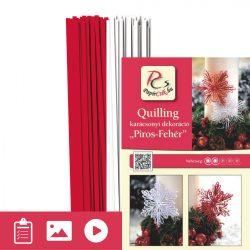 Roșu - Alb - model pt. tehnica quilling (benzi - 200 buc. și descriere cu poze)