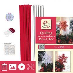 Roșu - Alb - model pt. tehnica quilling (benzi - 200 buc., descriere și instrumente)