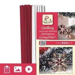 Roșu închis - Alb perlat - model pt. tehnica quilling (benzi - 200 buc. și descriere cu poze)
