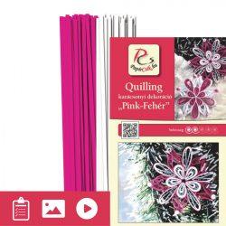 Pink - Alb - model pt. tehnica quilling (benzi - 200 buc. și descriere cu poze)