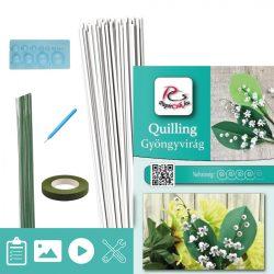 Gyöngyvirág  - Quilling minta (70db csík 10db mintához és leírás, eszközök)