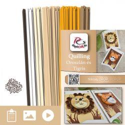Oroszlán és Tigris  - Quilling minta (230db csík 4db mintához és leírás képekkel)