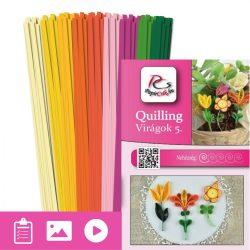 Virágok 5. - Quilling minta (180db csík 10-10-10db mintához és leírás képekkel)