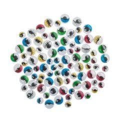 Ochi mobili, rotund, alb, cu gene, 7  mm (10 buc.)