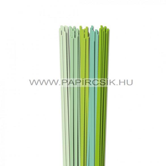 Halványzöld árnyalatok, 4mm-es quilling papírcsík (5x20, 49cm)