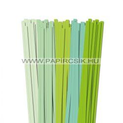Halványzöld árnyalatok, 10mm-es quilling papírcsík (5x20, 49cm)