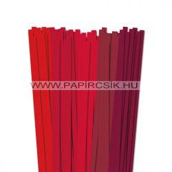 Piros árnyalatok, 10mm-es quilling papírcsík (5x20, 49cm)