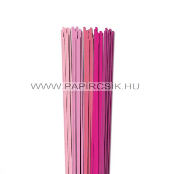 Rózsaszín árnyalatok, 4mm-es quilling papírcsík (5x20, 49cm)