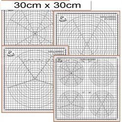 Placa de plută cu 4 buc. șabloane (30x30 cm)