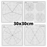 Hârtie șablon pentru tehnica quilling – cu divizare în unghi de 30 grade (1 buc., 30x30 cm)